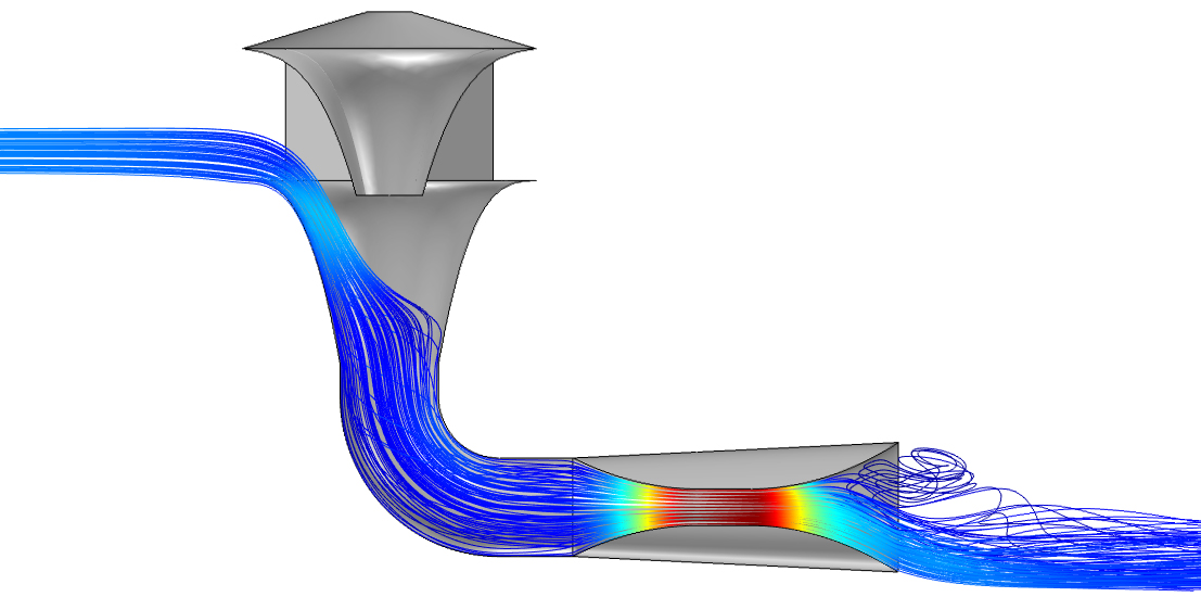 CFD model showing how wind speed increases
