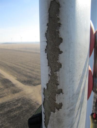 Example of leading edge erosion on wind turbine blade